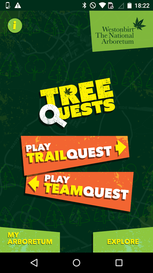 Atrium main selection screen themed for TreeQuests